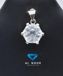 silver Pendant with Goshenite stone