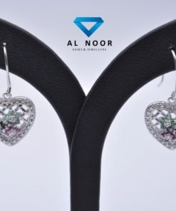 Natural Emerald, Ruby, Diamond Earrings